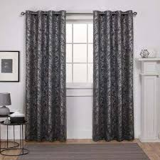 Black Floral Curtains Gray Floral Curtains Drapes Window Treatments The Home Depot