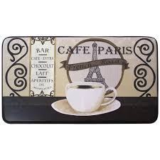 Cushioned Kitchen Mat Chef Gear Cafe Paris 18 In X 30 In Faux Leather Comfort Kitchen