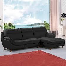 vente flash canapé d angle vente privée canapé d angle cuir 4 places angle gauche 51169