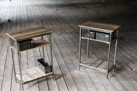 Metal Nightstands With Drawers Made Reclaimed Wood And Steel Stands With Vintage Metal