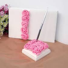 wedding guest book pen 2pcs set pink flowers wedding guest book pen set