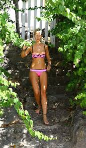 lady victoria hervey in on the beach in barbados