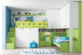 green and white bedroom for teenagers with wooden loft bunk bed