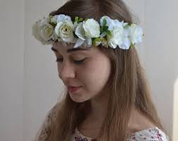 white flower headband white flower crown etsy