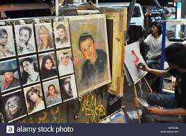 Bangkok Thailand A Painter Specialized In Portraits Of Arab