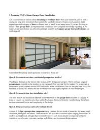 Overhead Door Installation by Tips To Install A New Garage Door In Calgary By