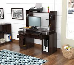 Espresso Desk With Hutch Inval America Credenza Computer Work Center With Hutch In