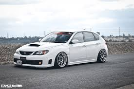 subaru stance new subaru sti in white sits nicely below dakos3
