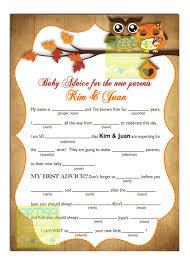 Printable Halloween Mad Libs by Fall Owls Mad Lib Autumn Owls Mad Lib Baby Shower Fall