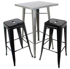 Industrial Bistro Table Hartleys Gunmetal Industrial Square Top Bistro Table U0026 2 Black