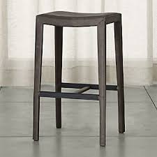 Grey Leather Bar Stool Bar Stools And Counter Stools Crate And Barrel