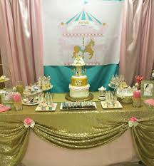 pink and turquoise carousel baby shower candy buffet little