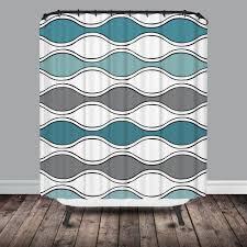 teal u0026 gray mod waves shower curtain