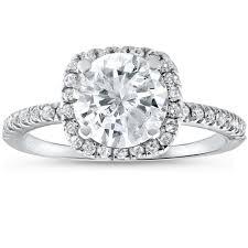 circle engagement ring 2 1 2 cttw engagement ring cushion halo cut 14k