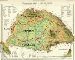 Czechoslovakia Map Post Treaty Of Trianon 1920 Borders Of Greater Hungary The