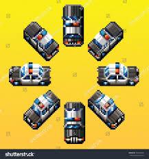 pixel car police car eight directions retro pixel stock vector 146583398