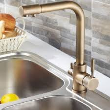 Single Lever Antique Brass Kitchen Sink Mixer Tap - Brass kitchen sink