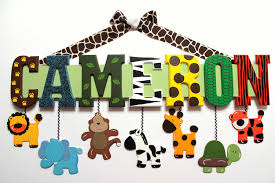 zoo animal name sign 7 letters custom hand painted wood
