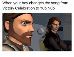 Victory Meme Face - when your boy changes the song from victory celebration to yub nub