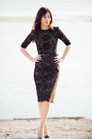 classic black lace dress made from casual thick cotton lace with