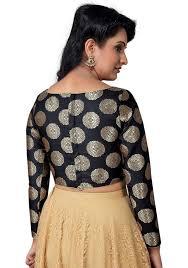 open blouse vamas black brocade back open boat neck blouse