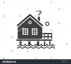 seaside stilt house icon outline design stock vector 615836429