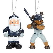 new york yankees reindeer santa 2 pack ornament set