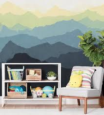 mountain mural wall art wallpaper navy yellow peel and stick mountain mural wall art