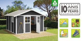 cabane jardin pvc abri de jardin grosfillex déco 11 gris foncé en résine oogarden