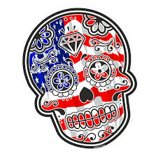 Mexican American Flag Mexican Day Of The Dead Sugar Skull With American Stars U0026 Stripes
