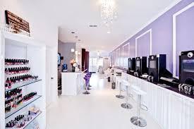 ultra modern white and lilac nail spa nail salon decor