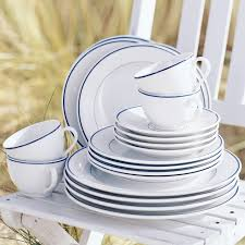 apilco tradition blue banded porcelain dinnerware place settings