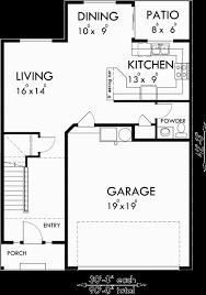 triplex house plans townhouse with 2 car garage
