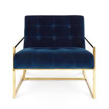 Navy Velvet Cushion Goldfinger Lounge Chair Modern Furniture Jonathan Adler