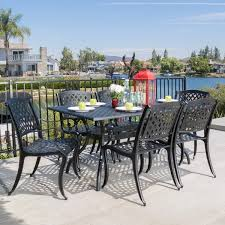 Christopher Knight Patio Furniture Reviews Outdoor Cayman 7 Piece Cast Aluminum Black Sand Dining Set By