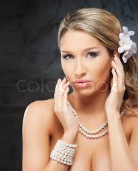 pearl necklace woman images Portrait of young and beautiful woman wearing the pearl necklace jpg