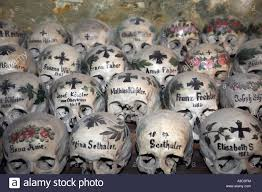 beinhaus in hallstatt austria human skull house stock photo