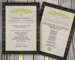 customized wedding programs printable customized wedding program rustic fan tree with