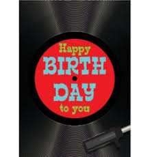 vinyl happy birthday red card royalty free vector image