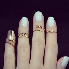 half ring various shaped shiny golden half finger rings for