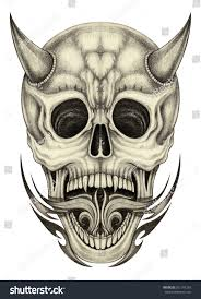 skull devil tattoohand pencil drawing on stock illustration