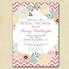 vintage flower wreath and pink chevron bridal shower invite