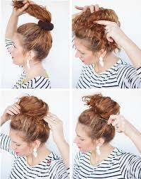hairstyles with a hair donut curly hair style high messy bun right ringlets