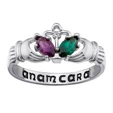silver rings stones images Couple 39 s marquise simulated birthstone and diamond accent claddagh jpg