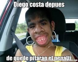 Diego Costa Meme - diego costa depues de que le pitaran el penalti meme de el feo