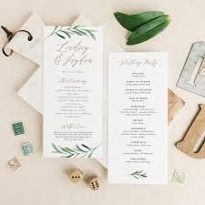 greenery wedding programs template printable wedding program