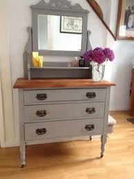 shabby chic vintage solid pine double pedestal dressing table