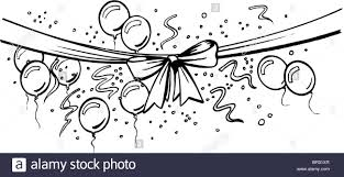 black and white ribbon a black and white drawing of a ribbon banner with a bow balloons