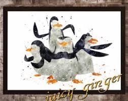 penguin art print etsy