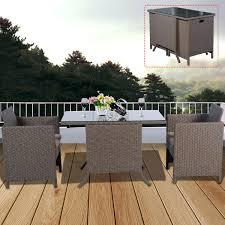 Outdoor Wicker Patio Furniture - 3 pcs cushioned outdoor rattan wicker table and chair outdoor